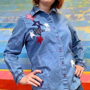 Vintage 90s Western Stars & Stripes Flag Button Up